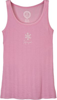 Sweet dreams and garment-washed softness are found in this tank's 60/40 cotton/polyester blend. Fitted, cozy and enhanced by a ribbed pointelle scoop neck, picot edges around neck and armholes, and lettuce edging along hems. Imported. Sizes: S-XL. Color: Perfect Pink. - $19.88
