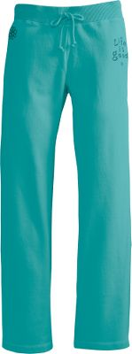 "These pants are made of 9-oz. 80/20 cotton/polyester fleece that's sueded and garment-washed for plush, velvety softness and a luxurious broken-in feel. They also feature a shape-flattering, extra-wide waistband and a comfortable relaxed fit. Embroidered stacked logo and icons. Imported.Inseam: 31"".Sizes: S-2XL.Colors: Aqua Blue, True Blue. - $39.88"