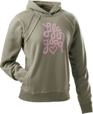 A popular hoodie just got better with updated cool-looking raw edges on raglan sleeves and slant pockets. Front print graphic has embroidery details. Soft and pleasing 80/20 cotton/polyester fleece construction with a relaxed fit. 2x2 ribbed cuffs and hem. Sueded and garment-washed for softness. Machine washable. Imported.Sizes: S-2XL.Colors: Ivory, Sage Green. - $29.88
