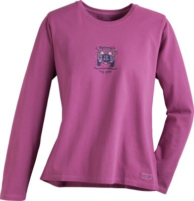 Camp and Hike Colorful, comfortable and just enough attitude to reflect your lifestyle, this Womens Long-Sleeve Crusher Tee Shirt from Life is good is ideal for any casual occasion. 100% ringspun, combed cotton. Narrow ribbing on the neck. Tapered hemmed sleeves instead of cuffs. Each has a Do What You Like, Like What You Do locker patch. Imported. Center back length: 28. Sizes: S-2XL. Styles/colors: Feel The Love/Heather Gray, Half Full Champagne/Heather Green, Jackie Slow Lounge/Scroll, Jackie Tailgate/Teal Blue, Watercolor Daisy/Heather Latte, Wild At Heart/Dark Blue, Watercolor Lantern/Heather Grey, All Need Love/Night Black, Light Star Daisy/Denim Blue, Not All Who Wander/Rest Cred, Simplify/Bold Pink. Size: 2 X-Large. Color: Allneedlove/Nitblack. Gender: Female. Age Group: Adult. Material: Cotton. Type: Long Sleeve T-Shirt. - $10.88