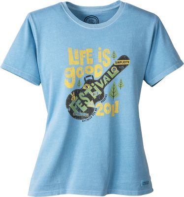 The official Life is good Festival tee for 2011. This top will be sold at Life is good festivals nationwide and will be the No. 1 fund-raising garment for the Life is good Kids Foundation, which was established to help children overcome life-threatening challenges. Super-soft 100% cotton construction. Machine washable. Imported.Sizes: S-2XL.Colors: Riviera, Sorbet (not shown). - $9.88
