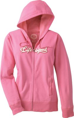 Garment-dyed midweight 8-oz. fabric. Three-pieced hood. Ribbing on the cuffs and hem. 90/10 cotton/polyester fleece. Appliqu d lettering. Relaxed fit. Imported. Sizes: S-XL.Colors: Windsor, Rose. - $24.88
