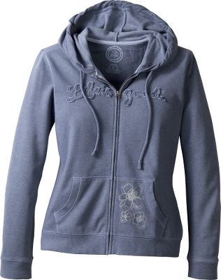 Heathered French terry gives this zip-up hoodie a weathered, broken-in look and feel. Cute floral screen-printed and embroidered detailing on the left kangaroo-style pocket. Eye-catching appliqued logo across the chest. Relaxed fit. 7.4-oz. 90/10 cotton/polyester. Imported.Center back length for size Medium: 25.Sizes: S-2XL.Colors: Heather Gray, True Blue. - $49.88