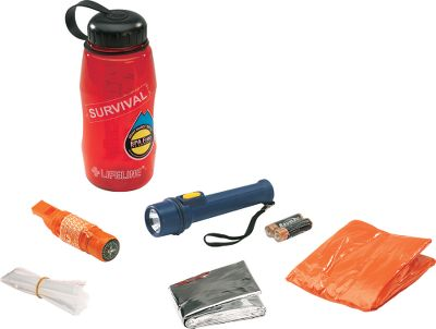 Camp and Hike These kits feature a water bottle that also doubles as a survival kit fit for different emergency scenarios. The translucent Lexan bottle can be used to carry water or protect survival supplies included in each kit, such as matches, batteries and a first-aid kit. Emergency blankets function as a shelter, shade, ground cloth or signaling device. Use the combination whistle/compass for signaling and navigation. Ponchos can be used for protection, a ground cloth, windbreak or solar still. Available: Ultimate Survivor Includes 32-oz. bottle, carabiner, multifunction tool, multifunction whistle/compass, flashlight with three AAA batteries, survival blanket, two handwarmers, candle, box of waterproof matches, emergency poncho, 20-piece first-aid kit in a pouch and reusable zip-lock bag. Dimensions: 3.5L x 3.5W x 8.88H. Weight: 1.22 lbs. Survivor in a Bottle Includes 26-oz. bottle, multifunction whistle/compass, survival blanket, plastic flashlight with two AA batteries, emergency poncho and reusable zip-lock bag. Dimensions: 3.5L x 3.5W x 8.13H. Weight: 0.75 lbs. Camper in a Bottle Includes 32-oz. bottle, carabiner, one multifunction pliers with a sheath, folding camp saw, plastic flashlight with two AA batteries, fabric drawstring pouch and 20-piece first-aid kit in a pouch. Dimensions: 3.5L x 3.5W x 8.88H. Weight: 1.33 lbs. Hunter in a Bottle Includes 26-oz. bottle, handwarmer, emergency whistle, pocket-sized pack of tissues, plastic flashlight with two AA batteries, emergency poncho, box of waterproof matches and reusable zip-lock bag. Dimensions: 3.5L x 3.5W x 8.13H. Weight: 0.70 lbs. First Aid in a Bottle Includes 26-oz. bottle, first-aid guide, scissors, tweezers, three hand wipes, ten 3/4 x 3 bandages, ten 3/8 x 1-1/2 bandages, knuckle bandage, knee/elbow bandage, 3 x 3 - $12.88