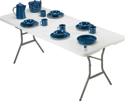 "Camp and Hike Even though this table has a spacious top, its convenient center-folding design lets you transport it in your truck or camper with ease. The rugged, 29-1/2""-high molded top is moistureproof and stain-resistant. Only 3-3/8"" thick when folded. Built-in nylon carrying handle. 1"" heavy-duty steel frame and legs. Nonmarring leg tips. 10-year limited warranty. Imported.Weight: 28 lbs. Dimensions: 72""L X 30""W x 29-1/2""H. - $69.88"