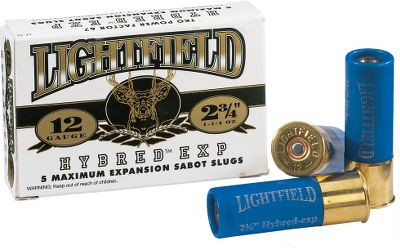 Hunting For devastating deer performance, turn to the Lightfield Ammunition Corporation for the hardest hitting and most accurate sabot slug available. 2-3/4 EXP cartridges have a two-sided sabot that keys to four tabs on the slug itself. When the shell is fired the pressure pushes the wad forward, locking the slug and sabot together, and forces the locked sabot/slug assembly to expand to the full barrel diameter and spin together as one unit. Just like a badminton birdie, the lighter wad or shuttlecock stays attached to the slug while in flight, giving the projectile stability while supersonic and prevents shockwave deflection when the projectile becomes subsonic. Upon impact, the maximum expansion of the soft lead slug (essentially a .62 cal. bullet) produces devastatingly lethal results. Per 5. Available: Lightfield Hybred EXP 2-3/4 Saboted 12 ga. Shotgun Slugs Lightfield Hybred EXP 2-3/4 Saboted 20 ga. Shotgun Slugs Type: Slugs. - $12.99