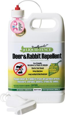 Camp and Hike Liquid Fence Deer Rabbit Repellent prevents deer and rabbits from eating flowers, shrubs, vegetable plants, trees, vines, ground cover and lawns year-round. Its 100% safe for use on edible crops, eco-friendly and guaranteed effective.Available: 1-gal. Concentrate Deer Rabbit Long-lasting, rain-resistant formula wont harm plants or animals and is biodegradable. Weight: 9-1/4 lbs. 2-1/2-gal. Concentrate Deer Rabbit Long-lasting, rain-resistant formula wont harm plants or animals and is biodegradable. Weight: 23-3/4 lbs. 2-lb. Granular Deer Rabbit Diatomaceous earth-based formula for use with low-growing plants. Comes in an easy shaker bottle. Weight: 2.6 lbs. 5-lb. Granular Deer Rabbit Diatomaceous earth-based formula for use with low-growing plants. Comes in an easy shaker bottle. Weight: 5.70 lbs. Ready-to-Use 1-gallon spray bottle Type: Pest Repellent. Size 5 Lb Grnlr Deer/Rbbt. - $19.88