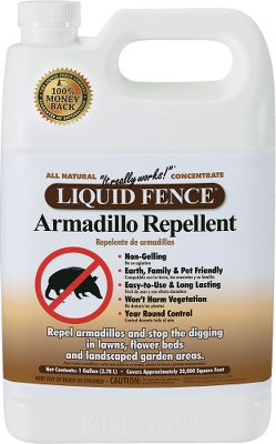 Camp and Hike Simply put, Liquid Fence Armadillo Repellent stops the digging. Long-lasting non-gelling formula won t clog sprayers, and is easy to apply as watering the lawn. Environmentally safe, it's harmless to plants, family and pets.Available: 1-gal. Concentrated Armadillo Repellent 2-1/2-gal. Concentrated Armadillo Repellent - $39.88