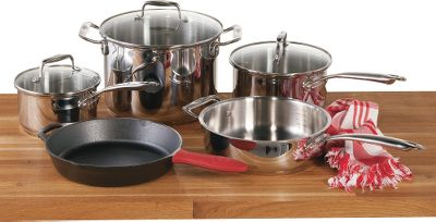 Get the best of both worlds cast iron and stainless steel with unbeatable Lodge quality for premium cooking performance on electric, gas, ceramic and induction stovetops. This eight-piece set includes a 10-1/4 cast-iron skillet with a silicone handle mitt, 3.3-quart stainless steel deep skillet (shares stockpot cover), 8-quart covered stainless steel stockpot, 3.4-quart covered stainless steel saucepan and a 1.9-quart covered stainless steel saucepan. The dishwasher-safe stainless steel pans feature heavy-gauge, triple-ply base construction with heat-transfering aluminum cores and induction-ready magnetic 430 stainless steel bases. Brushed and polished interiors with etched capacity markings. Dishwasher-safe tempered glass covers with stainless steel rims. The cast-iron skillet offers ultimate versatile for frying, roasting, baking or broiling. Cast iron boasts the best heat distribution and retention of any cookware material, and its naturally easy-release properties improve with use and dont require any chemical coatings. Color: Stainless. - $229.99