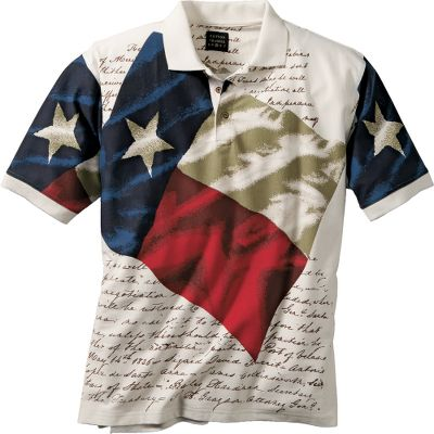 Display your Texas pride with this 100% cotton, three-button short-sleeve polo with Texas flag graphic across the chest. Imported.Sizes: M-2XL.Color: Natural. - $34.99