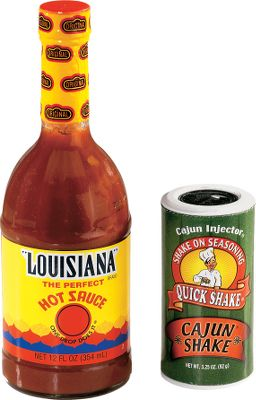 Blended from perfectly aged cayenne peppers, Louisiana Hot Sauce is the official hot sauce of bayou country, a distinction that no other hot sauce can make. Not too hot, not too mild - it is unbeatable for adding a bit of zip to any meat, soup, gravy and eggs. Cajun Shake is a flavorful balanced blend of seasonings, perfect for wild game, beef, poultry, fish and vegetables. Just a sprinkle is all it takes to add zest to popcorn, salads, soups and more. This combo pack includes a 12-oz. bottle of Original Louisiana Hot Sauce and a 3.5-oz. jar of Cajun Shake. - $3.99