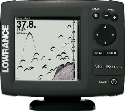 Fishing The 5 monochrome, 480 x 480-pixel screen provides high contrast with Film Super Twist LCD and sharp 16-level, grayscale definition. Sonar scrollback allows you to bring up previous screens to find and mark locations. Vastly improved brighter white LED backlit screen. Graphically enhanced menus simplify user interface. A quick-release, tilt-and-swivel bracket makes removal and adjustment easy. The skimmer-type transducer has a built-in temperature sensor. One-year manufacturers warranty. Imported. Color: White. - $159.00