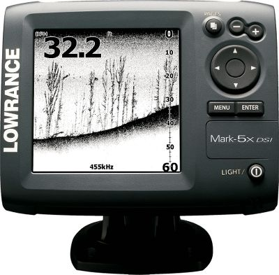 Fishing Find more and pay less with this innovative Mark-5X DSI imaging fish finder. High-detail 5 screen has sunlight-enhanced viewing for those ultrabright days. 16-level grayscale display has a 480x480-pixel resolution. Bright white LED screen and keypad backlighting make it visible no matter what time of day. Skimmer DSI imaging transducer has a built-in water-surface temperature sensor, and is transom and trolling-motor mounting compatible. 4,000-watt peak-to-peak power reaches impressive bottom readings at boat speeds up to 40 mph. Optimum imaging under 8 mph. Unique TrackBack feature offers immediate scrollback to review sonar imaging history. Simplified menu with text and icons for easy navigation. Sealed and waterproof. 10-17 vDC power supply. Imported. Type: Sonars. - $174.88