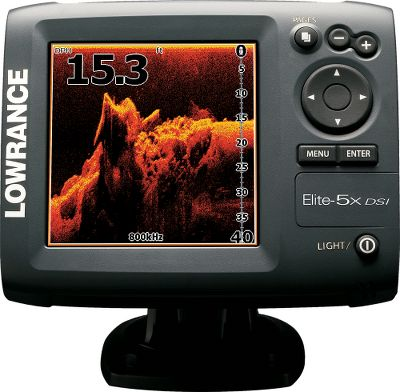 Fishing The enhanced imaging fish finder gives you a new way to find those hotspots. The Lowrance-exclusive DownScan Imaging gives you picture-perfect views under the water. Now, clearly see the boundary layer between cooler and warmer water. Crystal clear Elite-5 DSI imaging distinguishes between predator fish, baitfish and bottom structures. Dual-selectable 455/800kHz coverage offers two viewing options; 455kHz sounding for wider and deeper coverage with 800kHz for enhanced targeted viewing. It transmits 4,000-watt peak-to-peak and 500-watt RMS power with recently-tested depths to 200 feet at boat speeds up to 40 mph. Optimum imaging under 8 mph. Low-profile, high-speed, transom-mount, Skimmer DSI imaging transducer has an exclusive down-looking crystal and built-in temperature sensor. 480x480-pixel SolarMAX 256-color TFT display delivers unmatched viewing brightness. Adjustable backlit screen and keypad for low-light or night angling. TrackBack lets you view the sonar history. Simplified menu with text and icons for faster and easier selections. Imported. - $229.88