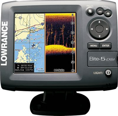 Fishing The enhanced imaging fish finder gives you a new way to find those hotspots. The exclusive Lowrance DownScan Imaging gives you picture-perfect views under the water. Now, clearly see the boundary layer between cooler and warmer water. Crystal clear Elite-5 DSI imaging distinguishes between predator fish, baitfish and bottom structures. Dual-selectable 455/800kHz coverage offers two viewing options; 455kHz sounding for wider and deeper coverage with 800kHz for enhanced targeted viewing. It transmits 4,000-watt peak-to-peak and 500-watt RMS power with recently-tested depths to 200 feet at boat speeds up to 40 mph. Optimum imaging under 8 mph. Low-profile, high-speed, transom-mount, Skimmer DSI imaging transducer has an exclusive down-looking crystal and built-in temperature sensor. 480x480-pixel SolarMAX 256-color TFT display delivers unmatched viewing brightness. Adjustable backlit screen and keypad for low-light or night angling. TrackBack lets you view the sonar history. Simplified menu with text and icons for faster and easier selections. ICAST 2010 New Product Showcase Winner for best electronics. Imported. Type: Sonar/GPS Combos. - $299.88