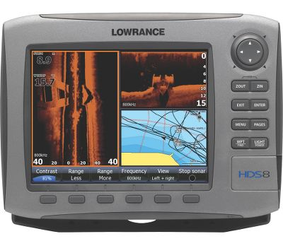 "Fishing Enter the new era of fish finding with the HDS series by Lowrance. With Lowrance s-exclusive Broadband Sounder you will see fish you couldn t see before. This award-winning fish-finding technology displays more targets with greater sensitivity and higher definition. You get superior target marking in all conditions, so you can find more fish hiding in any cover. Bottom contours will show up better than ever. The advantages don t stop there. You ll always know where you are on the water thanks to the super-sensitive internal GPS antenna. It s also fully compatible with Sirius real-time weather and radio services available through affordable inland and offshore packages. Use the built-in Ethernet connection to share high-speed, high-bandwidth data with all HDS displays on your boat, including sonar graphs, navigation and Sirius weather/radio and radar. The HDS-8 features a panoramic 8.4"" SVGA display with crystal-clear 600x800-pixel resolution. Choose exclusive Lowrance mapping plus Insight high-definition charts or the enhanced U.S. basemap: All HDS chart-plotter models with the enhanced U.S. basemap feature complete U.S. geographical coverage for more than 100,000 bodies of water and nearly 5,000 enhanced U.S. lakes with highly detailed shorelines and depth contours Insight high-definition mapping delivers unprecedented detail with lightning-fast map-screen updates Insight USA combines inland and coastal coverage of Lake Insight , including more than 60,000 marked Fishing Hot Spots Compatible with complete range of Navionics mapping cartridges, including Platinum and Platinum Plus All HDS units feature Turboview for enhanced viewing with top-of-the-line Navionics Platinum 3-D charts HDS chart-plotters are fully compatible with all Lowrance plug-and-play choices, including Lake Master Pro Maps, Fishing Hot Spots Pro, NauticPath and FreedomMaps Lowrance HDS-8 includes: Vastly improved angler control, with unique FlyWheel scroll dial, plus soft command ... - $1,499.00"