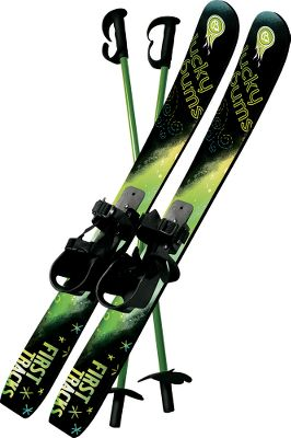 Ski Developed for the smallest skiers, this set is ideal for introducing young beginners to the thrill of racing downhill on fresh powder. The sturdy plastic skis are 27.5 long and have scales on the bottom to help children get back up the hill. Flexible bindings allow heel lift and are made to accommodate snow boots. Attached straps ensure a secure fit. Poles are included to help with balance. Recommended for ages 4 and under. Not recommended for use at ski resorts.Available: Green, Pink. Type: Skis & Snowboards. Green. - $42.88