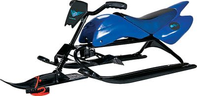 Extreme When your kids head to the hills for sledding, they want a sled that will take them faster and farther. The Lucky Bums Extreme Racer is the sled you want. The rugged steel tube frame and durable plastic moto-design body combine to give a fast and fun ride that will last through several winters. Front suspension, handlebar steering, a durable metal front brake and a padded seat all add to the sledding experience.Dimensions: 50L x 20W x 17H .Color: Blue. - $99.99