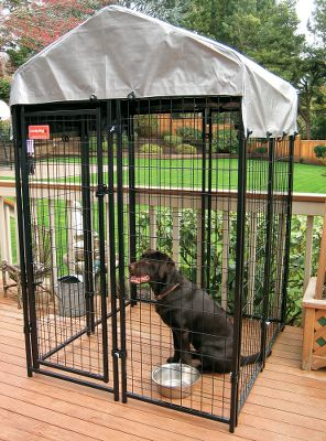 Hunting Tough 10-ga. welded-steel panels can be added to or removed from this fully modular kennel system, providing a secure outdoor area for your dog. Included cover offers protection from the elements, creating a safe and sheltered environment. One-year warranty against manufacturing defects and workmanship. Available: 4L x 4W x 6H: Includes one gate panel (2W x 5H), one locking gate latch, one complete kennel cover with frame, seven panels (2W x 5H each) and 16 panel clamps. Dimensions: 4L x 4W x 5H (without cover), 4L x 4W x 6H (with cover). Weight: 81 lbs. 8L x 4W x 6H: Includes one gate panel (2W x 5H), one locking gate latch, one complete kennel cover with frame, 11 panels (2W x 5H each) and 24 panel clamps. Dimensions: 8L x 4W x 5H (without cover), 8L x 4W x 6H (with cover). Weight: 124 lbs. Size: 4 X 4. Type: Dog Kennels. - $249.99