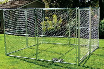 Hunting Chain-link panels can be added to or removed from this fully modular kennel system, providing a secure outdoor area for your dog. Durable 12-ga. galvanized-steel construction. One-year manufacturers limited warranty. Includes: Seven panels (5W x 6H each) One gate panel (5W x 6H) 16 panel clamps (two per panel) Dimensions: 10L x 10W x 6H. Weight: 176 lbs. - $499.99