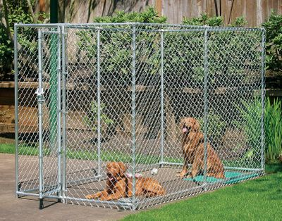 Hunting Durable chain-link box kennels offer complete security for your dog. Tough, 12-ga. galvanized-steel construction. One-year manufacturers limited warranty. Assembly required. Dimensions: 10L x 5W x 6H. Weight: 112 lbs. Type: Dog Kennels. - $399.99