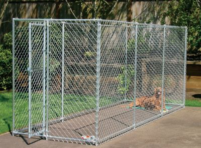 Fitness Depending on your needs, the chain-link panels can be configured into either a 10-ft.L x 10-ft.W x 6-ft.H dog kennel or a 15-ft.L x 5-ft.W x 6-ft.H dog run. Durable 12-ga. galvanized-steel construction. One-year manufacturers limited warranty. Dimensions: 10-ft.L x 10-ft.W x 6-ft.H or 15-ft.L x 5-ft.W x 6-ft.H. Weight: 160 lbs. Type: Dog Kennels. - $399.99