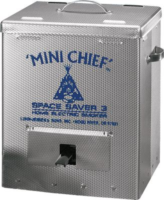 "Camp and Hike Do you love the rich flavor of smoked meats but don't do it yourself because there seems to be too much hassle, equipment and space involved? The 250-watt electric Mini-Chief smokes up to 15 pounds of meat, comes ready to use right out of the box and is compact enough to stash out of the way at home or stow in your motor home or camper for your travels. Three grill racks within keep everything separate, and the exterior is vented for flawless dehydration every time. With your Mini-Chief you receive a recipe book that makes it simple to prepare a wide range of smoked delicacies, a bag of Chips `n Chunks wood flavor chips and an instruction manual. This is the quickest, easiest and most-affordable way to do your own smoking.Dimensions: 11-1/2"" x 11-1/2"" x 14"".Weight: 14 lbs. Type: Electric Smokers. - $69.88"