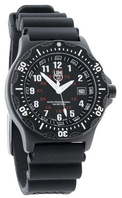 Rugged, reliable and accurate. The new black SEAL dive watch from Luminox has the features demanded by those who want a timepiece they can take with confidence into any situation. The corrosion-resistant stainless steel case houses precise, multijewel Swiss quartz movement and a traditional analog dial with a 24-hour military-time dial in red. And every Luminox watch employs tiny self-powered, micro-gas lights in the hands and dial for high visibility. Guaranteed to glow for 10 years, they require no external light source to charge them, and theres no need to push a button to light the dial. It has a screw-in crown and a screw-down case back and is water-resistant to 660 feet. It comes with a rubber band with a logo buckle.Case diameter: 44mm.Color: Black.Each Luminox watch employs tiny self-powered, microgas lights in the hands and dial for high visibility. Guaranteed to glow for 10 years, they require no external light source to charge them, and theres no need to push a button to light the dial. Gender: Men's. Type: Analog Watches. Type: Analog Watches. Black. - $499.99