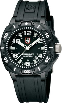 Entertainment Trusted, Navy SEAL-tested technology and toughness in a watch made for hunters and outdoorsmen. Patented Luminox light technology illuminates each hand and six markers with its gas capsule system, which glows continuously for 25 years. Lightweight, carbon-reinforced polymer case offers extreme, all-conditions durability. Double-gasket-sealed crown with stainless steel screws. Three-handed dial with date window and hardened, mineral glass crystal. One-directional bezel with stainless steel ratchet. Swiss quartz movement. Rugged polyurethane strap. Water-resistant to 100 meters. Case diameter: 43mm. Colors: Black, Blackout. Each Luminox watch employs tiny self-powered, microgas lights in the hands and dial for high visibility. Guaranteed to glow for 10 years, they require no external light source to charge them, and theres no need to push a button to light the dial. Color: Stainless steel. Gender: Male. Age Group: Adult. - $275.00