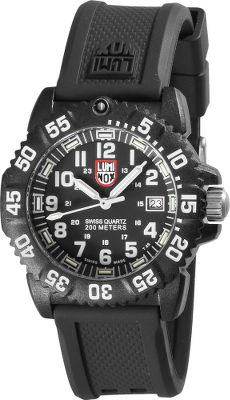 Guns and Military The same legendary go-anywhere, under-any-conditions performance of the Navy SEALs Luminox watches in models made for women. PC-carbon-reinforced case with double-security gasket ensures water resistance to 182 meters Luminox Night Vision illumination lasts 25 years. Reliable quartz movement. Hardened mineral crystal face. Strap is made of rubber, silicone and polyurethane. Case diameter: 35.5mm. Colors: Black, Blackout. Each Luminox watch employs tiny self-powered, microgas lights in the hands and dial for high visibility. Guaranteed to glow for 10 years, they require no external light source to charge them, and theres no need to push a button to light the dial. Size: 35. Color: Black. Gender: Male. Age Group: Adult. - $276.50