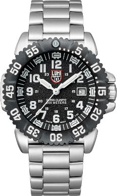 Entertainment Experience the legendary craftsmanship of a Swiss-made watch from Luminox, the maker of rugged timepieces for elite military and law enforcement personnel. Dont let the eye-catching appearance of this watch fool you its as rugged and ready for any adventure as it is pleasing to look at. The sturdy 316L stainless steel case is attached to a stainless steel bracelet with a solid signature buckle. The rotating bezel is constructed of reinforced PC carbon fiber and surrounds a handsome black dial face with white numerals, a second hand and a date window. The 44mm-diameter analog display is covered by hardened mineral glass. Watch is water-resistant to a depth of 200 meters or a pressure of 20 atmospheres. Battery life is approximately 50 months. Colors: Black, Blackout. Each Luminox watch employs tiny self-powered, microgas lights in the hands and dial for high visibility. Guaranteed to glow for 10 years, they require no external light source to charge them, and theres no need to push a button to light the dial. Color: Stainless steel. Gender: Male. Age Group: Adult. Pattern: Solid. Type: Analog Watches. - $575.00