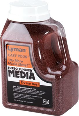 Tufnut Media is made from rouge-bearing crushed nut shells. A few hours in a Lyman Turbo Tumbler and cases are clean, polished and ready for reloading. Very abrasive material will polish cases faster, and works great on heavily tarnished cases. Size: 7 lb. Easy pour container. - $16.99