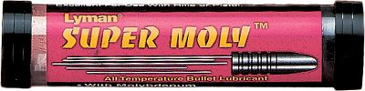 The Lyman Super Moly Bullet Lube is an all-purpose, high-temperature bullet lube that makes lead fouling of your barrel a thing of the past. Flows through lube sizers without heat and won't melt at 130-degrees. 1.25 oz. stick. Size: SUPER MOLY LUBE. Gender: Male. Age Group: Kids. - $5.99