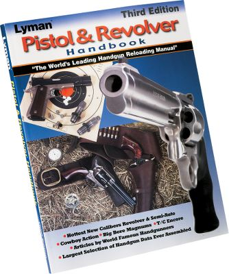 The Lyman 3rd Edition Pistol and Revolver Handbook has up-to-date load data for the serious handgun reloader. Suggested loads, and their ballistics and trajectory are included for each caliber. New information is included for Lyman cast-bullet designs. Editorial section features how-to-reload information, tips on improving accuracy and casting bullets, and articles by some of the most respected names in the handgun field. Softcover. 280 pages. - $19.99
