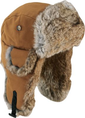 Hunting Tough, 100% cotton duck shell with genuine brown rabbit-fur insulation. Warm, quilted polyester-lined crown. Snap-up earflaps with listening holes. Imported. Sizes: M-2XL. Colors: Moss Green, Brown. Size: Large. Color: Brown. Gender: Male. Age Group: Adult. Material: Canvas. Type: Hats. - $44.99