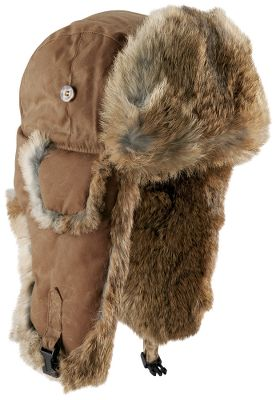 Water-repellent, 100% waxed cotton shell with double-stitched seams and genuine rabbit-fur insulation. Quilted-polyester-lined crown for extra warmth. Snap-up earflaps with adjustable listening holes. Imported. Sizes: M-2XL. Color: Khaki. - $44.99