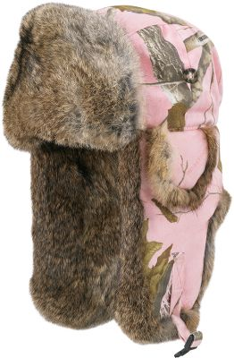 Hunting Brave the winter cold in classic, Mad Bomber style. Ultrawarm quilted-nylon crown with 100% natural rabbit-fur trim locks in warmth. Snaplock at chin holds earflaps up or down for extra warmth. Rugged Supplex nylon shell. Imported. Sizes: M-XL. Camo pattern: Realtree APC (Pink). Size: X-Large. Color: Realtree Apc (Pink). Gender: Female. Age Group: Adult. Material: Nylon. Type: Hats. - $18.88