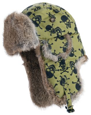 Styled with hard-core attitude, this bold bomber-style cap features a skull print and genuine rabbit-fur accents. Crafted of Supplex performance fabric that has a cotton-like feel and the ability to resist water. Wear the fur flaps up or snap-lock them down for protection during windy winter weather. Faux-bone buttons complete the package. Recycled lining and insulation. Imported.Sizes: S-XL.Color: Green Crossbones. Type: Headwear. Size: Large. Color: Green Crossbones. Size Large. Color Green Crossbones. - $34.88