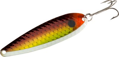 Fishing Glow color spoons are made with lighter material that is silver plated and painted with a special T.K. finish that wont wash off. They glow for hours and are UV-resistant. Rigged with VMC No. 1 treble hooks. Per each. Sizes: 3-1/4, 3-3/4. Colors: (012)Mashed Banana, (016)Pumpkin Seed, (023)Blue D. Fly Glow, (024)Purple Thunder Glow, (040)Pink Ice, (041)Orange Ice, (042)Lime Ice Glow, (043)Lemon Ice, (044)Blue Ice, (050)Raspberry Sherbet Glow, (052)Watermelon Frost Glow, (054)Key Lime Glow, (055)Cantaloupe Glow, (067)Glow White Tiger, (070)Mixed Vegi Glow, (071)Halloween Glow, (076)Lemonfire Glow, (077)Grassfire Glow, (078)Black Raspberry Glow, (080)Mashed Mahi Glow, (082)Blue Mahi Glow, (083)Green Mahi Glow. Color: Orange. Type: Casting & Trolling Spoons. - $6.19