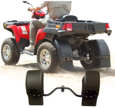 Motorsports Keep mud, gravel, water and snow where they belong on the ground and off your ATV. These flexible, durable fenders direct debris and water downward, keeping the back end of your machine and anything you might tow dirt- and ice-free. Fast, easy installation. Hardware included. Weight: 10-1/2 lbs. Dimensions: 12H x 52W x 3D. Available: Receiver Mount, Flat-Drawbar Mount. Type: Mud Flaps. - $159.99