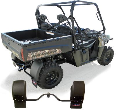Motorsports Keep mud, gravel, water and snow where they belong on the ground and off your UTV. These flexible, durable fenders direct debris and water downward, keeping the back end of your machine and anything you might tow dirt- and ice-free. Install easily on UTVs with 2 square receivers. Hardware included. Weight: 11-3/4 lbs. Dimensions: 12H x 52W x 3D. - $189.99
