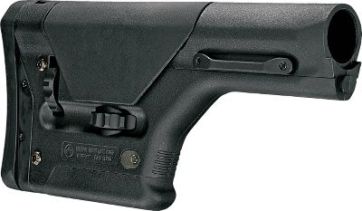 A precision field stock from Magpul for the AR-15 platform. Length of pull and cheekpiece can be adjusted without tools. Precision Rifle/Sniper (PRS) stock installs on standard, rifle-length receiver-extension buffer tubes without A2 spacer and includes a rubberized butt pad. Colors: Black, Flat Dark Earth. Color: Black. Type: AR-15 Stocks. - $254.99