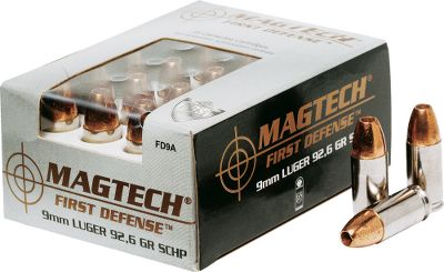 Sometimes you don't get a second chance. That's why Magtech First Defense Ammunition was created. It's made using 100 copper bullets for proven weight retention. Every round you fire meets its target with maximum impact, deep penetration and devastating expansion. Per 20. - $22.99
