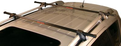 Motorsports Attach these crossbars to your vehicles roof rails for transporting lightweight loads such as bikes, kayaks, canoes and roof boxes. By raising the load off the roof, the system protects the vehicle from scratches. Rectangular profile is compatible with most rack accessories. Steel construction with a rust-resistant coating. Key-locking attachment towers for security. Comes ready to install with no additional tools required. 132-lb. weight capacity. Manufacturers one-year warranty. Per pair. Available: 50, 58. Type: Canoe/Kayak Rack. - $129.99