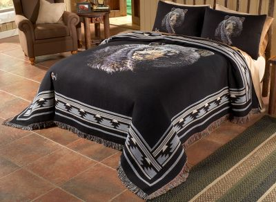 Entertainment Highlighted with detailed artwork by renowned wildlife artist Al Agnew, this stunning Cabelas-exclusive bedding features a majestic black bear. Each piece is made of high-thread-count polyester, cotton or a polyester/cotton blend. Machine washable. Set includes coverlet and shams. Made in USA.Available: Twin (66 x 90) Full (80 x 90) Queen (90 x 90) King (106 x 90) - $97.88