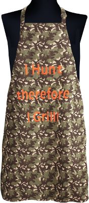 Hunting These aprons make a great gift and feature amusing embroidered sayings. Its 100% cotton construction withstands rugged use. Adjustable neck strap for a custom fit. Imported.Dimensions: 32-3/4L x 27W.Available: Grill Goddess I Hunt Therefore I Grill - $29.99