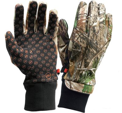 Hunting These windproof soft-shell gloves offer form-fitting dexterity and warmth. They re made of three-layer, polyester/spandex and feature a scent-reducing finish. Four-way-stretch polyester power fleece palms for improved comfort and grip. Imported. Sizes: M-XL. Camo pattern: Realtree AP . - $29.99