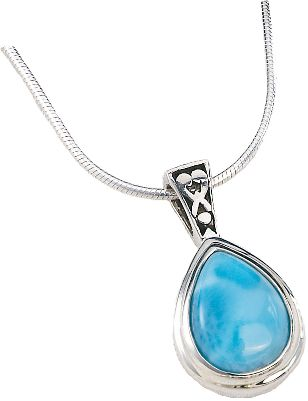 Entertainment Beautifully set, Caribbean-sea-blue larimar is accented with highly polished sterling silver. Heat and pressure from volcanic lava flows crystallized larimar gemstones eons ago, and they went largely undiscovered until 1974 when a Peace Corps volunteer stumbled across a deposit of the brilliant blue stones along a remote Caribbean seashore. Now its treasured for its rich blue hues and one-of-a-kind look. The .925 sterling silver pendant with filigree bail cradles the 8mm x 11mm pear-shaped bezel-set larimar. An 18 adjustable slider chain complete with lobster claw complements the piece. Color: Caribbean. Gender: Female. Age Group: Adult. - $94.88
