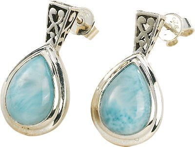 Entertainment Beautifully set, Caribbean-sea-blue larimar is accented with highly polished sterling silver. Heat and pressure from volcanic lava flows crystallized larimar gemstones eons ago, and they went largely undiscovered until 1974 when a Peace Corps volunteer stumbled across a deposit of the brilliant blue stones along a remote Caribbean seashore. Now it's treasured for its rich blue hues and one-of-a-kind look. These post earrings have an exquisite ornamental filigree of .925 sterling silver which offers a stunning complement to the 8mm x 11mm pear-shaped bezel-set larimar stones. Color: Caribbean. Gender: Female. Age Group: Adult. - $89.88