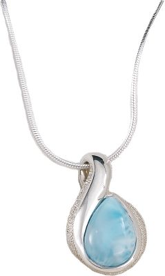 "Entertainment Celebrate the one-of-a-kind brilliance of sea-blue larimar and the ageless elegance of sterling silver. Mined by hand from veins crisscrossing extinct volcanoes, larimar is prized for its rich shades of blue that mirror the calm, clear waters of its Caribbean homeland. This necklace has pear-shaped larimar gemstone pendant in a sterling silver pendant on an 18"" snake chain with a lobster claw clasp. - $180.00"